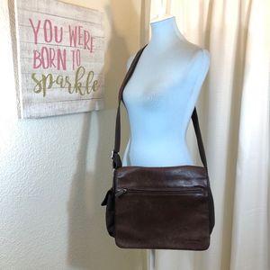 Vintage Fossil Leather Messenger Bag Crossbody